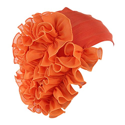 Sunyastor Summer Women Flower Cancer Chemo Hat Beanie Scarf Turban Head Wrap Cap Headband Shower Cap (Orange, One Size) ()