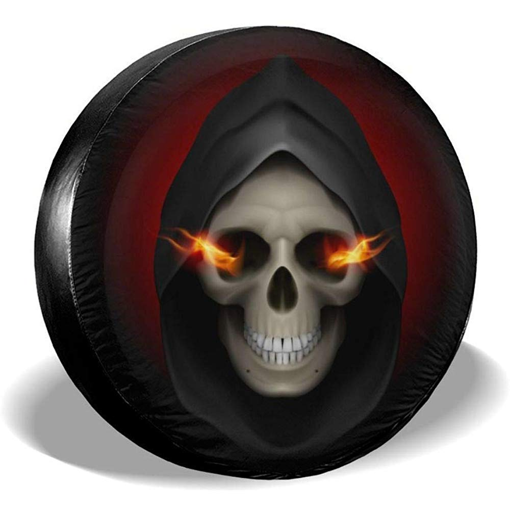Wheel Tire Cover Flaming Skull Death Red Spare Tire Cover Universal Tires Protectors 16 Inch