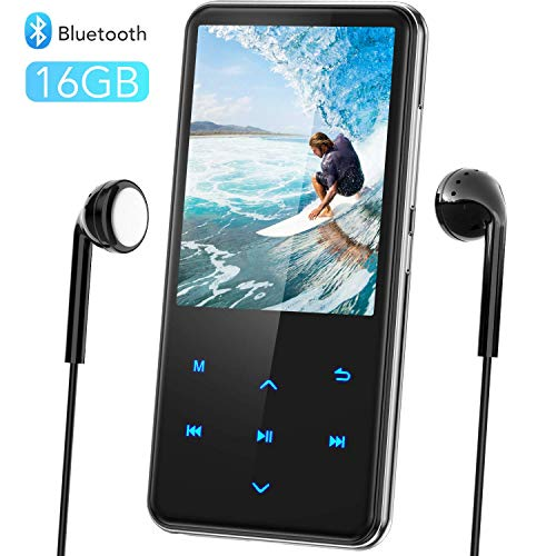 16GB MP3 Player with Bluetooth, 2.4in Large Screen MP3 Player with Speaker, Touch Button Music Player with FM Radio, Recorder, up to 128GB by AGPTEK
