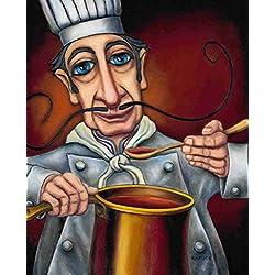 "Art Poster Print ""Gustavo"" - Chef's Sauce, Italian Restaurant Scene - by W. Rafuse (15.75""x19.6"")"