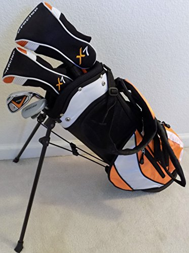 Boys Junior Golf Club Set with Stand Bag for Kids Ages 3-6 Orange Color Right Handed Premium Professional Quality by PG Golf Equipment