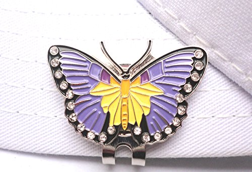 - Purple Butterfly Golf Ball Marker W/ Crystals and Magnetic Hat Clip