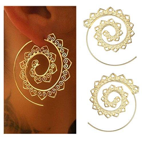 (Tpocean Bohemian Spiral Earrings Round Vintage Hoop Dangle Drop Earrings 1-4Pairs/Set )