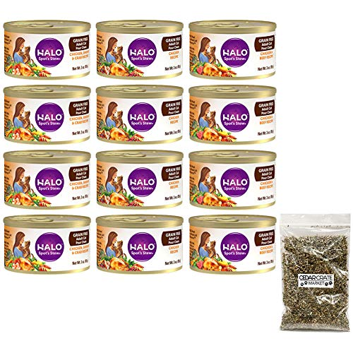 Halo Cat Food | Spot's Stew Canned Cat Food Variety Pack | Grain Free Cat Food, 3 Oz. Each | 3 Flavors: Chicken, Chicken & Beef, and Chicken & Shrimp & Crab | 4 of Each (12 Pack Bundle) with Catnip