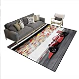 Carpet,Sports Theme Red Race Car Side View on a Track Leading The Pack Motion Blur,Outdoor Rug,Gray Red Black,6'6' x10'