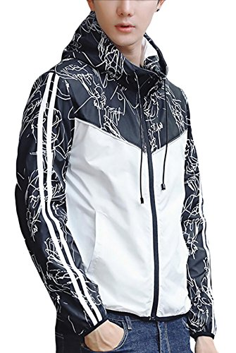 Printed Jacket Zip Slim Mens White Outwear Fit Hooded Full Generic Fashion awUTY6