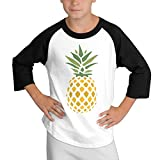 MULTY9 Creative Pineapple Right Down Child Youth 3/4 Sleeve T Shirts Medium