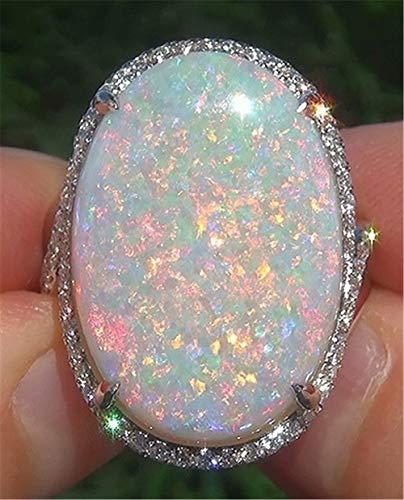 Yuren Women Jewelry Large 925 Silver Fire Opal Gemstone Ring Wedding Engagement Women Jewelry Sz6-10 (US Code 9)