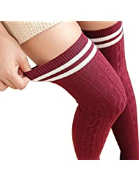 XY Fancy Faddish Women Vertical Stripes Twist Thigh High Stockings Over Knee Wine Red