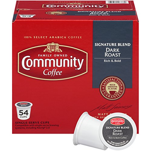 Community Coffee Signature Blend Dark Roast Single Serve, 54 Ct Box, Compatible with Keurig 2.0 K Cup Brewers, Full Body Bold Taste, 100% Arabica Coffee Beans