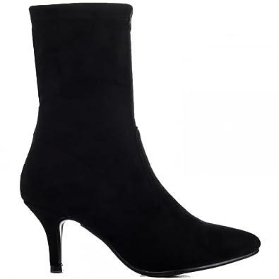 96e5a981929cc Shoe Closet Ladies Black Sock Stretch Kitten Heel Ankle Boots