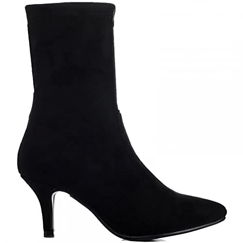 7aa3c61f2046 Shoe Closet Ladies Black Sock Stretch Kitten Heel Ankle Boots  UK3 EURO36 AUS4