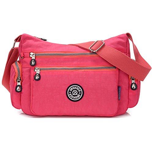 nylon Éclair Rose imperméable Chou sac en à poches Sac avec Petit nombreuses fermeture bandoulière bandoulière bandoulière à léger tHTqwI46