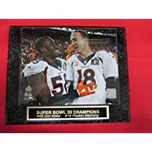 Von Miller Peyton Manning Denver Broncos Collector Plaque w/8x10 Super Bowl Photo