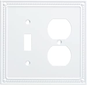 Franklin Brass W35062-PW-C Classic Beaded Switch/Duplex Wall Plate/Switch Plate/Cover, White