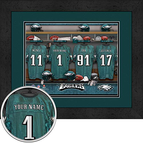 Philadelphia Eagles Team Locker Room Personalized Jersey Officially Licensed NFL Sports Photo 11 x 14 Print ()