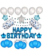 Blue Theme Birthday Decoration | Happy Birthday | Party Supplies for Baby Shower Birthday Party for kids | Banner + Balloons + Air pump + Tape + Star Garlands