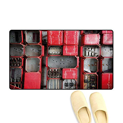 (Door Mats,Fuse Cabinet Close Up Photo Industrial Type Junction Cables Box Electricity,Bath Mat Bathroom Mat with Non Slip,Red White Grey,16