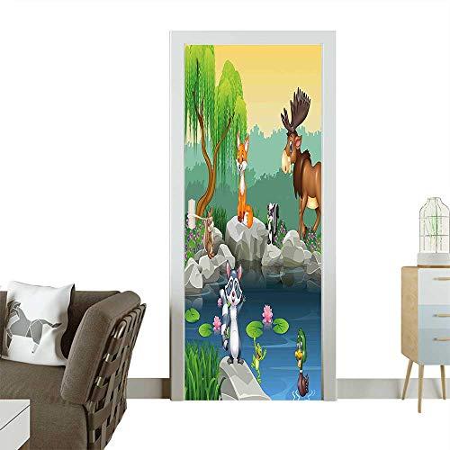 Homesonne Modern Art Door Sticker Funny Mascots Animals by The Lake Moose Fox Squirrel Raccoon Kids Nursery Theme Environmentally Friendly decorationW23 x H70 INCH - Moose Marlon