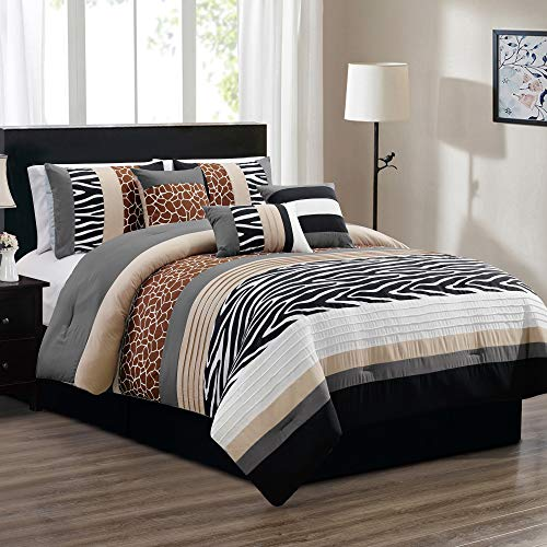 Beige Zebra Print - 7 Piece King Size Safari Bed in A Bag Animal Print Zebra, Giraffe Comforter Set - Bedding in Brown, Beige, Black, White and Grey. Perfect for Any Bed Room or Guest Room