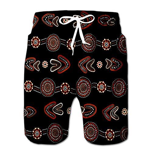 - Summer Shorts Pants Australian Aboriginal with White and Orange Dotted Circles Rings Boomerangs Swim Trunks Stripe Casual Swim Shorts S