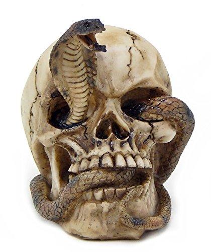 Bellaa 26607 Skeleton Cobra Snake Habitat Skull Figurine Statue Sculpture Halloween