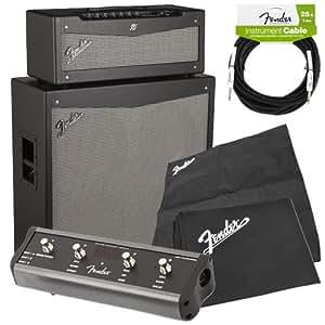 fender mustang v v 2 half stack amp pak w amp covers guitar cable musical. Black Bedroom Furniture Sets. Home Design Ideas