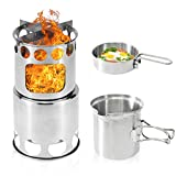 Camping Stove, Kekilo Backpacking Stove Portable Stainless Steel Lightweight Wood Burning Stove with Mesh Bag for Picnic BBQ Backpacking Hiking Traveling
