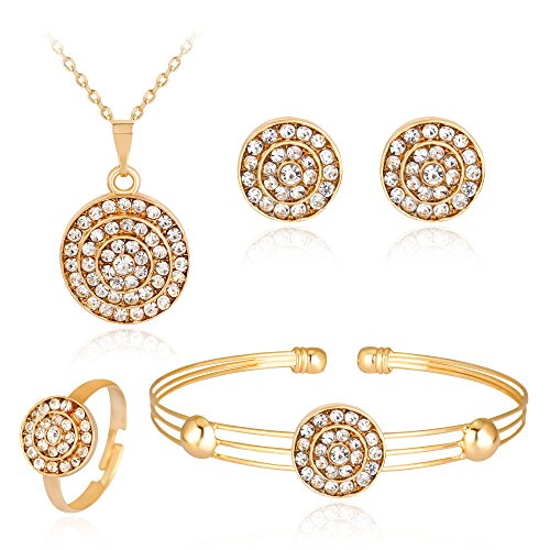 Gbell Clearance! Lady Women Fine Jewelry Set Statement - Personality Rhinestone Necklace Pendant Bracelet Ring Earrings Jewelry Set Charm for Women's Girls Anniversary Wedding Party Date Casual (O)