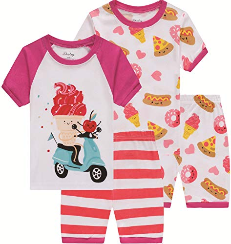 Pajamas for Girls Summer Baby Ice Cream Clothes Toddler Kids Short PJs Set 4 Pieces Sleepwear 8t