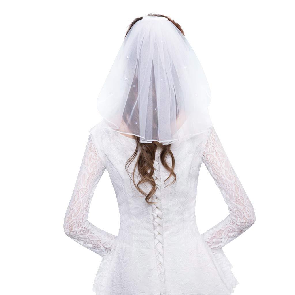 GROOMY Vestido de Novia de Tul Velos Cinta Blanca Borde Rhinestones Perlas Falsas Pelo Nupcial Corto Velo Peine Novia Hada Matrimonio Accesorios