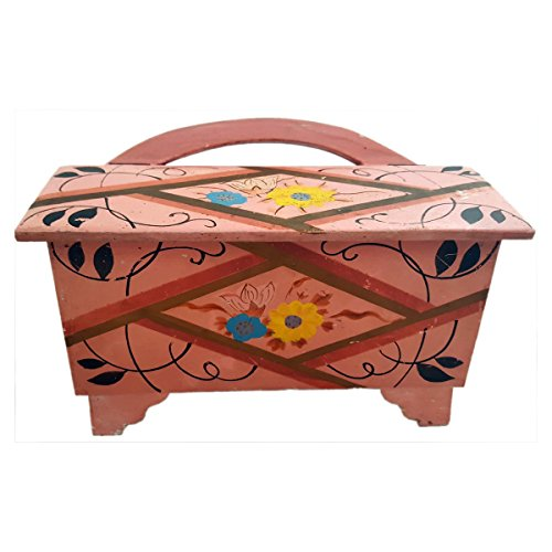 Vintage Circa 1940-1950 Butterfly Hinged Pink Wood Sewing Box with Handle Hand Painted Flowers Made in Japan