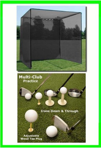 Golf Mat, Golf Net Cage, 10'x10'x10 Golf Net Golf Cage and 5'x5' Multi-Club Golf Mat. Our Dura-Pro 10'(d) x 10'(h) x10'(w) Golf Cage Golf Net Comes With High Velocity Strong Impact Golf Netting and a High Impact Double Back Stop and Target Plus a  by Dura-Pro Golf Cages (Image #4)