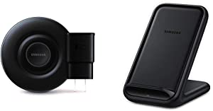 Samsung Qi Certified Fast Charge Wireless Charger Pad (2019 Edition) with Cooling Fan for Galaxy Phones, Watches and Apple iPhone Devices & 15W Fast Charge 2.0 Wireless Charger Stand - Black