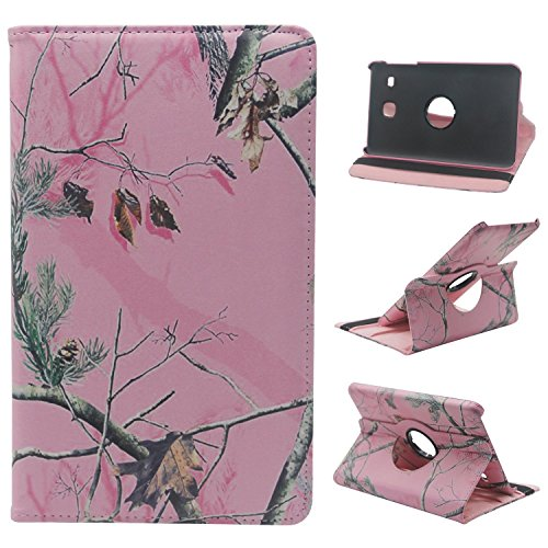 Samsung Galaxy Tab E 8.0-Inch SM-T377 Case - Cute Cartoon 360 Degree Rotating PU Leather Case For Samsung Galaxy Tab E 8.0 Inch SM-T377 T377 Tablet,Pink Branches