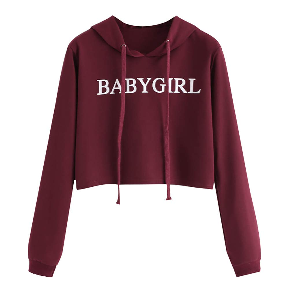 Womens Plus Size Long Sleeve Hoodie Sweatshirts Baby Girl Letter Print Loose Solid Hooded Pullover Blouse Tops Kaitobe