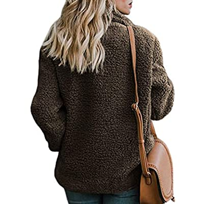 Dokotoo Womens Fleece Open Front Coat with Pockets Outerwear at Women's Coats Shop