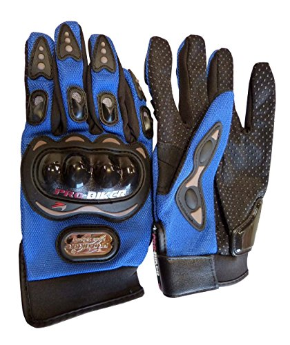 Carbon Fiber Pro-Biker Bike Motorcycle Motorbike Racing Gloves Full Red, Blue, Black (Large, Blue)
