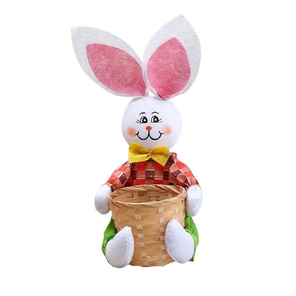 ♚Rendodon♚ Easter, Easter Decoration, Easter Rabbit Basket, Cute Bunny Easter Basket Eggs Candy Gifts Storage Rabbit Bag Party Decoration (Green)