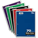 TOPS 1-Subject Spiral Theme Book, Wide Rule, 8 x 10.5 Inch, Bright White Paper, 70 Sheets per Book, Cover Color May Vary (65000)