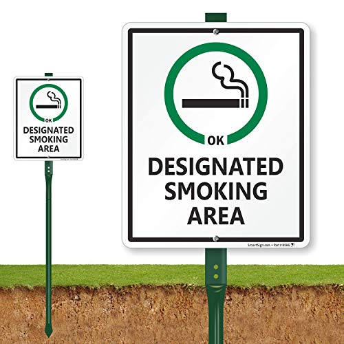 Designated Smoking Area (with Cigarette Ok Symbol), Heavy Duty Aluminum Sign & 3' Tall Stake, 12