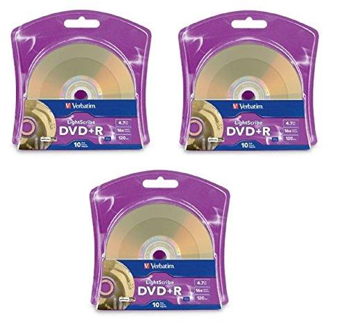 Verbatim 16x DVD+R LightScribe Blank Media, 4.7GB/120min - 30 Pack (3 x 10 Packs)