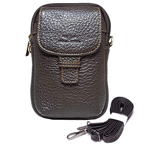 Small Bag Waist Pack Messenger Bags Tactical Cellphone Phone Pouch Bum Leather Travel Bags Cases Holsters Saddlebag (H26 DARK BROWN)