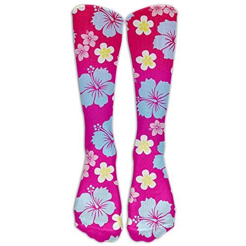 Hawaiian Party Flower Print Women Novelty Soft Knee High Socks Printed Crew Socks -