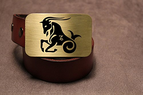 Capricorn Belt Buckle ZODIAC Etched Metal