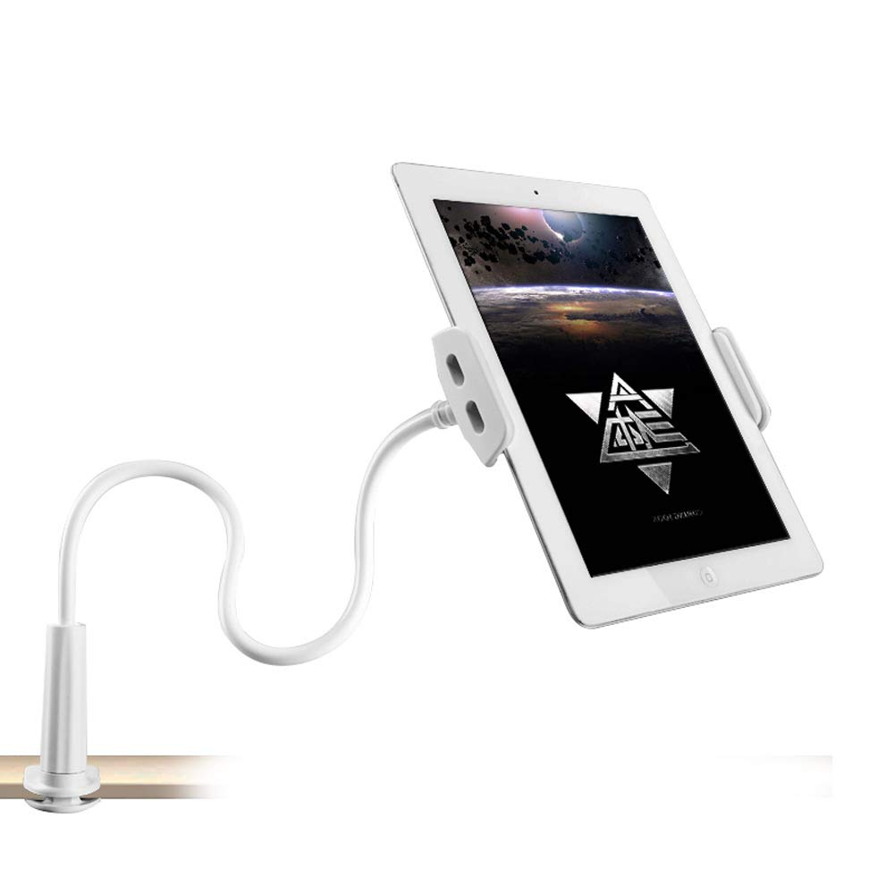 Gooseneck Phone Holder/iPad Stand/Universal Lazy Tablet Mount for iPhone X/8/7/6/6s Plus,Galaxy S8,iPad Pro 9.7/Mini/Air and More,Tablets Mount 360 Rotating (General Section-White)