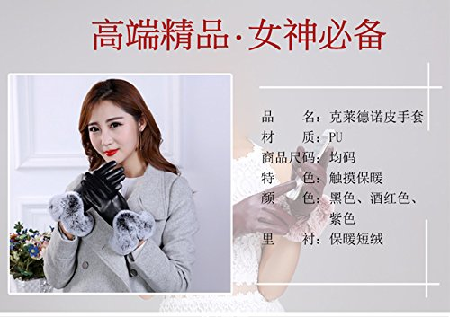 Generic Leather_ glove gloves women girls winter _plus_velvet_thick_warm_rabbit_wool,_ leather glove gloves winter _thick)_touch_screen_ students _riding_by_car