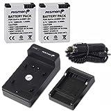 Fosmon® Premium Compact Battery Charger Kits (Car + Wall) + 2 x 1200 mAh Batteries AHDBT-301 for gopro HD Hero 3, Go Pro HD Hero3 Black edition, gopro HD Hero 3 silver, Go Pro HD Hero3 white - Fosmon Retail Packaging