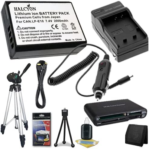 Memory Card Reader//Wallet Mini HDMI Cable LP-E10 Lithium Ion Replacement Battery w//Charger Full Size 50 Tripod Deluxe Starter Kit for Canon EOS Rebel T3 Digital SLR Camera DavisMAX Bundle
