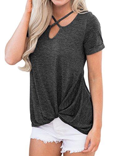 Dearlove Womens Short Sleeve Tops Criss Cross Casual Loose T Shirt S-XXL